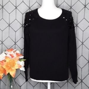 FOREVER 21 Black Crew Sweater with Sequins